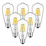 CRLight 6W 3200K LED Edison Bulb Soft White 700LM Dimmable, 70W Equivalent E26 Medium Base, ST21(ST64) Vintage LED Filament Bulbs, 360 Degrees Beam Angle, Pack of 6