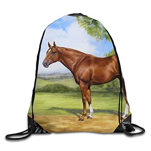 (Horse Art Print Gym Bag Gym Sack Bag Drawstring Backpack Sport Hipster Style Bag)