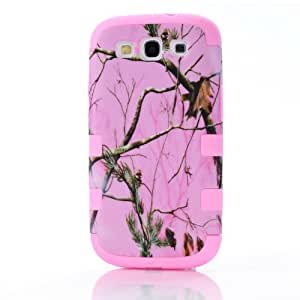 TVS(TM) 3-pieces Triple Layer Hybrid Real Pink Tree Camo Hybrid Hard Case Cover for Samsung Galaxy S3 Iii I9300 (Light Pink)
