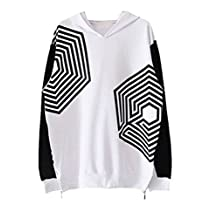 Splendid-Dream EXO poisoning maze printing loose long-sleeved Hoodie Sweatshirt