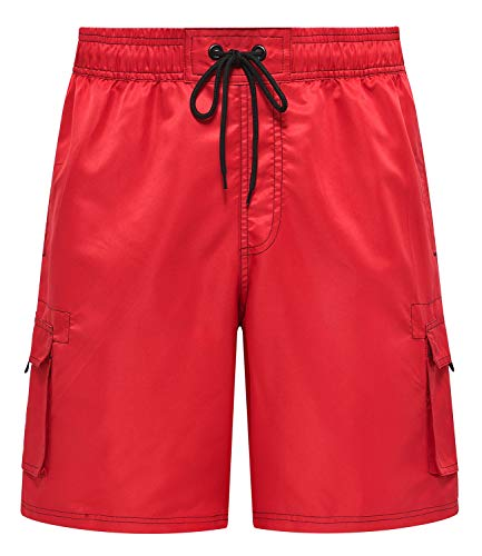 Trunks Mens Red Swim (Men's Beachwear Board Shorts Quick Dry Swim Trunks Red 34)