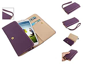 DFV mobile - Smooth synthetic leather cover premium with card case for > v-sky v919, color morado