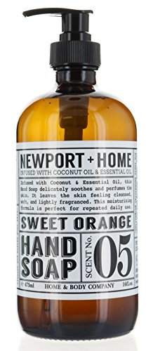 Newport + Home Hand Soap, Sweet Orange 16 oz/473ml Infused w/Coconut Oil & Essential Oil by Home and Body Co - Sweet Orange Soap