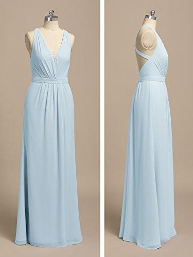 Long Party Bridesmaid Alicepub Neck Dress Women's Maxi Formal Black Evening V Dresses OgRaYxq