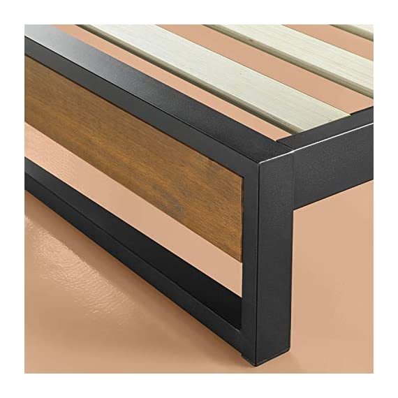 ZINUS GOOD DESIGN Award Winner Suzanne 6 Inch Metal and Wood Platforma Bed Frame / No Box Spring Needed / Wood Slat Suport, Brown, Queen - 6 inch high strong, low profile steel frame structure with wood slat support for mattress longevity Wood panel footboard detail Easily assembles in minutes - bedroom-furniture, bedroom, bed-frames - 41cUNRrdsSL. SS570  -