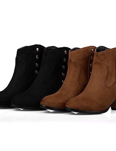 Brown Eu39 us8 Sintético Xzz Mujer 5 Ante Black Tacón Redonda De Eu37 Marrón Uk6 5 La Casual Uk4 Punta Cn40 5 us6 Negro Moda Vestido 5 A Robusto Botas 5 Cn37 7 Zapatos UqUTrR