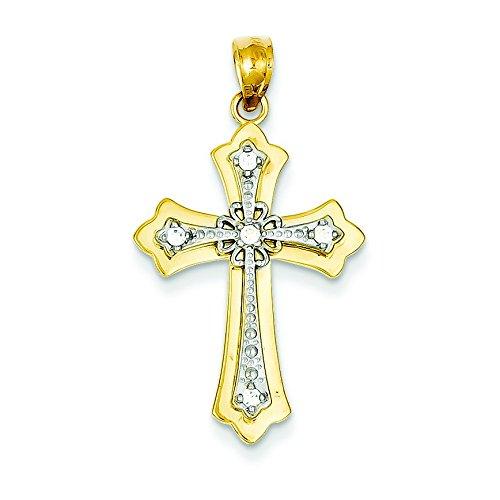 14 carats Or jaune Rhodium plaqué diamant brut JewelryWeb-Pendentif croix