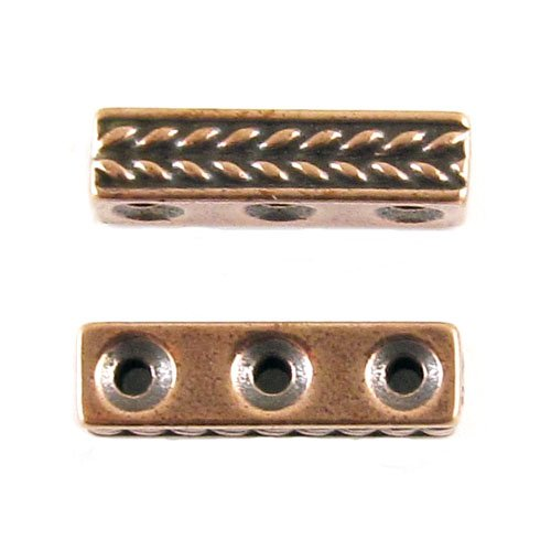 TierraCast Pewter Spacer Beads-COPPER 3 HOLE BRAIDED BAR - Bar Pewter Spacer