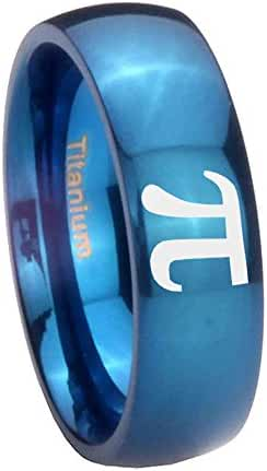 Blue IP Titanium Math Pi Dome Engraved Ring ( 6MM, 8MM ) Size 4 to 13