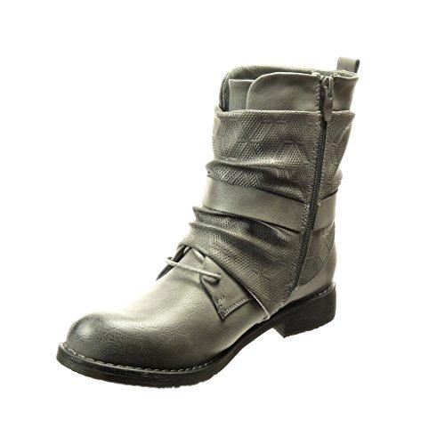 Angkorly - damen Schuhe Stiefeletten - Schleife - Spitze Blockabsatz 2.5 CM Grau