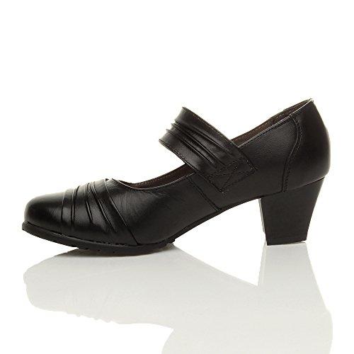 Ajvani Damen Mittelblockabsatz Komfort Leder Grund Einfach Mary Jane Pumps Schuhe Größe Schwarz