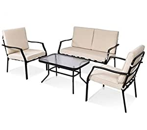 SKB Family 4 pcs Patio Coffee Table Sofa Furniture Set