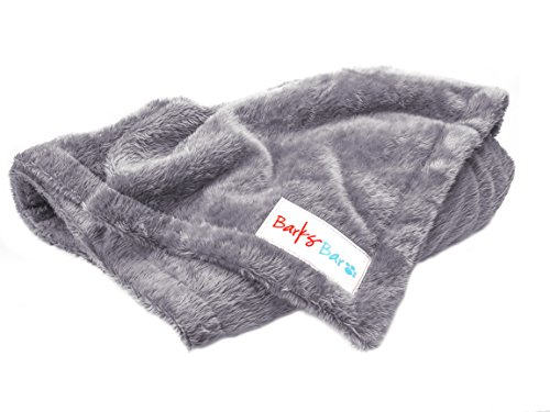 BarksBar Original Medium Pet Blanket For Pets - 45 x 35 Gray 100% Polyester Micro Plush Throw For Small & Medium Size Dogs