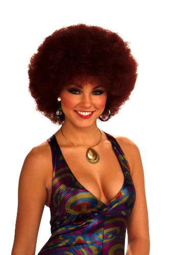 Afro Hippie Costume (Forum Novelties Women's 70's Disco Doll Afro Wig, Auburn, One Size)