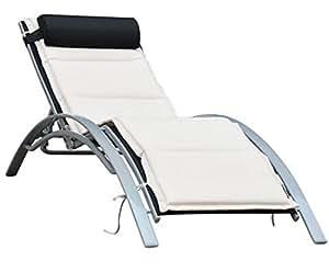 Crema y negro ajustable Textilene tumbona cama con retardante de llama algodón completa con un cojín extraíble–elección perfecta para tanto para tomar una siesta durante el verano caliente