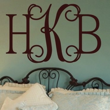 N.SunForest Personalized Hip Chick Monogram Vinyl Wall Decal Home Decor ()