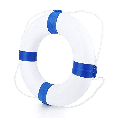 Beautihome Lifebuoy 52cm/20.5inch Diameter Swim Foam Ring Buoy Children Swimming Pool Safety Life Preserver with Perimeter Rope, Blue