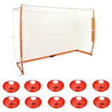 BowNet 7x21 Portable Soccer Goal (7 x 21-Feet, Orange(Bundle2))