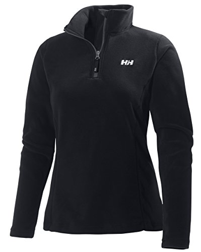 Helly Hansen Women's Daybreaker Lightweight Half Zip Active Outdoor Fleece Pullover Jacket, 990 Black, Small