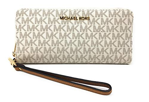 (Michael Kors Jet Set Travel Monogram Zip Around Travel Wallet Wristlet (Vanilla 2018))
