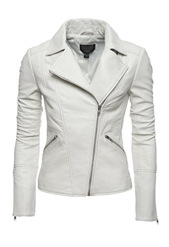 Ladies Lambskin Leather Coat Jacket (New Women Motorcycle Lambskin Leather Jacket Coat Size XS S M L XL LFWN585 M)