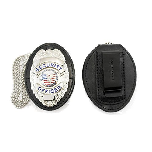 (Hero's Pride Universal Shield Leather Badge Holder with Free Neck Chain)