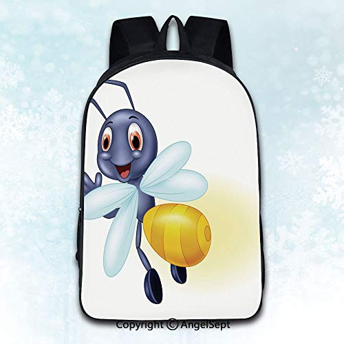 Multi-Function Stylish Anti-Theft Rucksack,Cute firefly cartoon waving Multicolor 16 inches,Mobile Phone Messenger Bags]()
