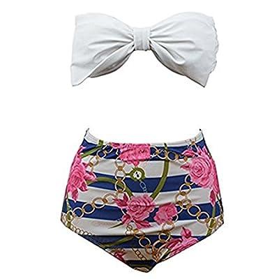 PZZ Vintage Print Floral Bikini Set Sexy Push Up Swimsuit Women Bandeau High Waist Swimwear Bathing Suit