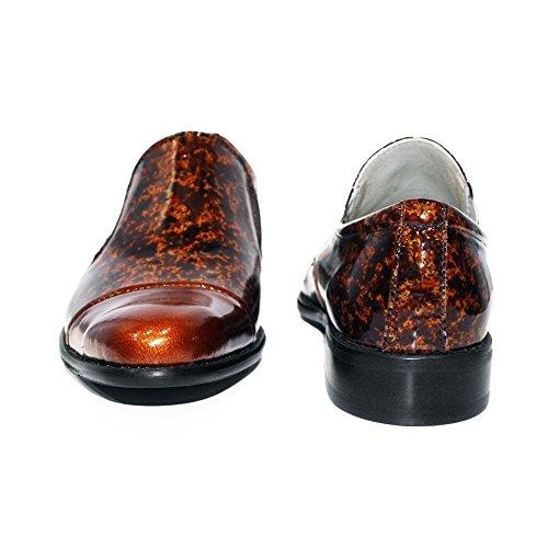 PeppeShoes Modello Bromo - Handmade Italiano da Uomo in Pelle Marrone Mocassini e Slip-On - Vacchetta Pelle Morbido - Scivolare su