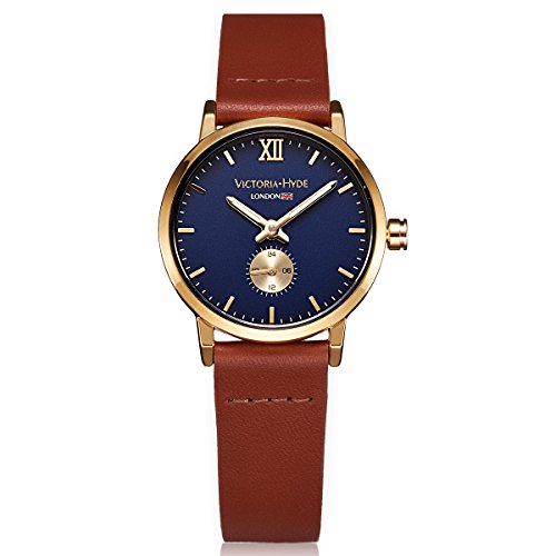 VICTORIA HYDE Women Second Hand Wrist Watch Gold Round With Blue Dial Quartz Waterproof Leather Brown (Blue Face Watch Round)