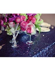 Wholesale 8PCS Sequin Tablecloth 72x120in Navy Blue Shimmer Sequin Fabric Sequin Table Cloth Wedding Party Deocration