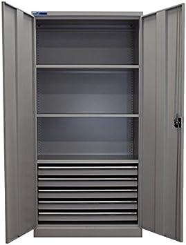 ADB de metal puertas correderas armario de 195 x 95 x 50 cm 3 o 4 o 5 cajones colour gris 3 baldas: Amazon.es: Bricolaje y herramientas