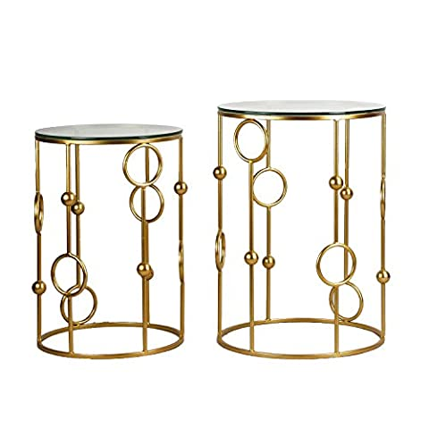 Joveco Gold End Tables With Glass Top. Decorative For Living Room, Patio, Garden or Bed room. Gold End Table Set of 2.