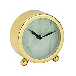 Benzara 43475 Shimmering Stainless Steel Gold Table Clock