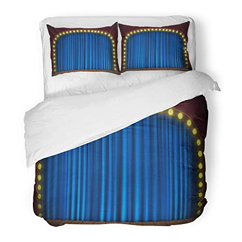 Emvency Bedding Duvet Cover Set Full/Queen Size (1 Duvet Cover + 2 Pillowcase)Brown Game Stage With Blue Green Show Bulb Circus Floor Blank Celebration Cinema Hotel Quality Wrinkle and Stain Resistant by Emvency