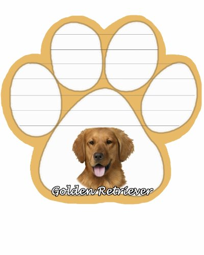 Golden Retriever Notepad With Unique Die Cut Paw Shaped Sticky Notes 50 Sheets Measuring 5 by 4.7 Inches Convenient Functional Everyday Item Great Gift For Golden Retriever Lovers and Owners (Pet Notes)