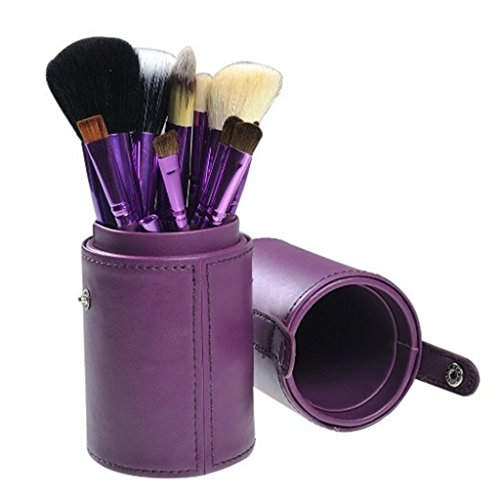 Black Friday Deals Cyber Monday Deals-easygogo 12pcs Makeup Brush Set Professional Face Cosmetic Brushes Kit Make up Tool with Cup Holder Casev Gifts for Teen Girls(Romantic Purple)