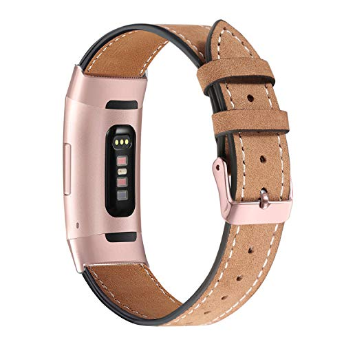 bayite Leather Bands Compatible Fitbit Charge 3, Genuine Leather Band Replacement Accessories Strap Charge3 Women Men, Light Brown with Rose Gold Connector