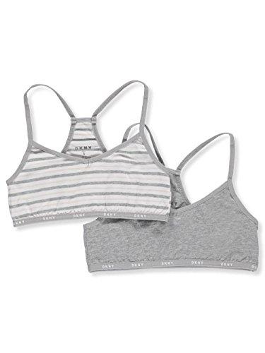 DKNY Girls' 2-Pack Racer Back Bralettes - Heather Gray, ()