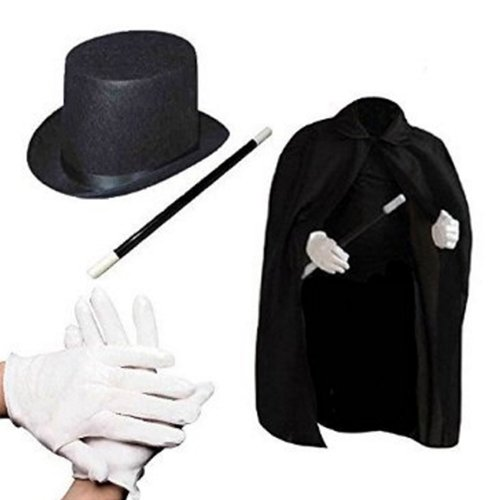 Impressive Magician Dress up Costume Set - Spectacular Realistic Magic Trick Role Play Kit - Includes: A Deluxe Black Cape and Hat, a Magic Wand, and Mystical White - Magician Magic Set