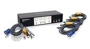 IOGEAR 4-Port KVMP Switch with USB 2.0 Hub and Audio GCS1804 (Black)