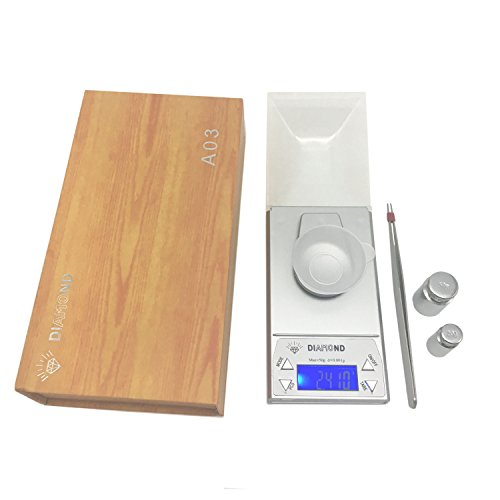 Pocket Scale AIWAYING Professional Digital Jewelry Mini High Precision Backlight LCD Screen 50×0.001g Silver (Scale Pocket Digital Mini)
