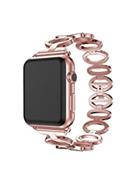 Apple Watch 1/2 38mm Replacement,ABC® Stainless Steel Bracelet Smart Watch Band Strap with Tools (Rose Gold)