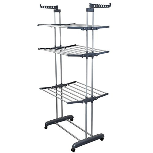 Drying Rack Hockey - BonBon 3 Tier Clothes Drying Rack Folding Laundry Dryer Hanger Compact Storage Steel Indoor Outdoor (Gray/Silver)