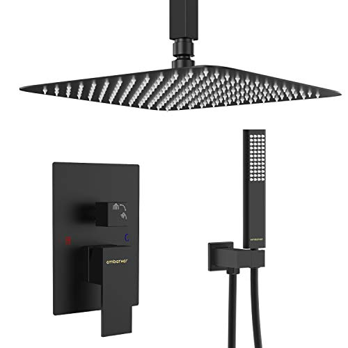 EMBATHER Black Shower System- 12 Inches Ceiling Shower Faucet Set with Square Rain Shower Head and Handheld-Shower Combo Set for Bathroom-Easy Installation- Eco-Friendly(Valve included) (Ceiling Shower Head)