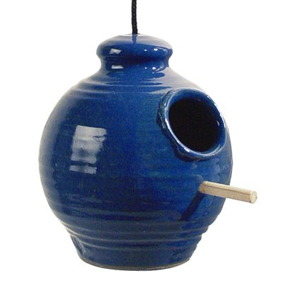 Stoneware Bird - Hanging Stoneware Chickadee Feeder (Royal Blue)