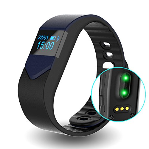 EIISON Fitness Tracker with Heart Rate monitor E3S Activity Watch Step Walking Sleep Counter Wireless Wristband Pedometer Exercise Tracking Sweatproof Sports Bracelet for Android and iOS … (Dark Blue)