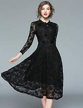 YFLTZ Mujer Vintage Street Chic Una línea Little Black Dress - Encaje de Color sólido,