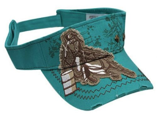 Ladies embroidered barrel racer visor Turquoise by Showman