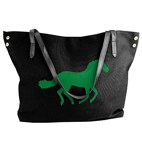 Tote Black Hand Bag Handbag Large Canvas Silhouette Horse Women's Shoulder q0Ez4z